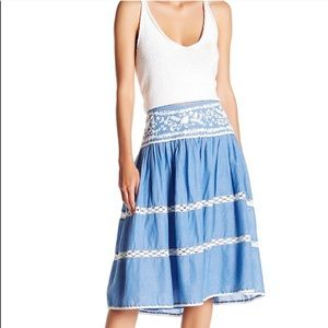 Joie chambray embroidered three tiered skirt